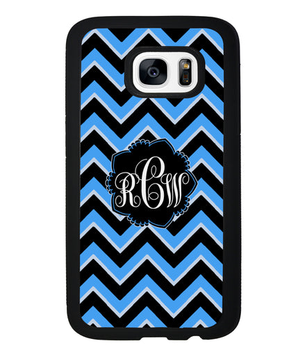 Teal Black Blue Chevron Monogram | Samsung Phone Case