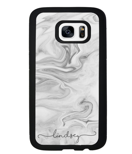 White Marble Script Personalized | Samsung Phone Case