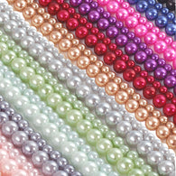 "12 x 16"" Strands Of High Quality Glass Pearl Beads - Mixed Colours"