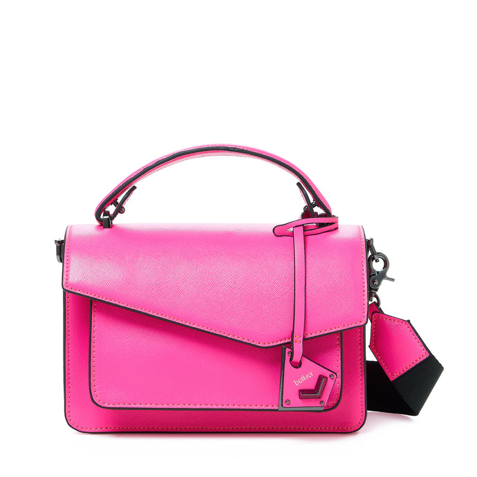 botkier cobble hill crossbody neon pink front