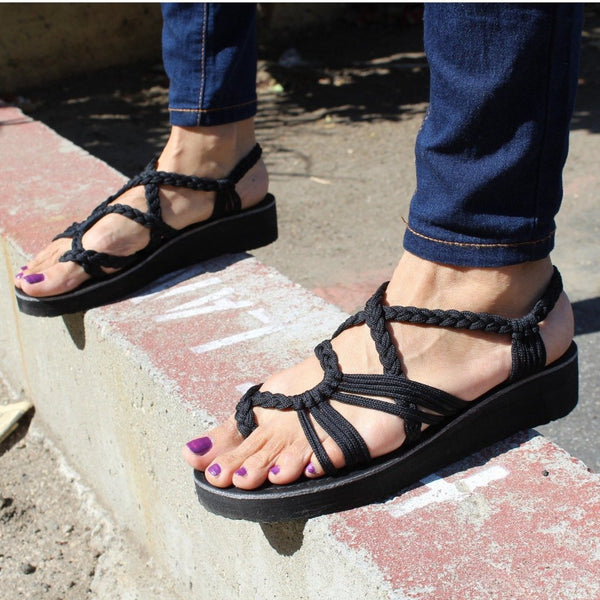 Black High Hill Handmade Knitted Rope Woman's Sandals - Sizes 4-10 US W - Tuk Tuk Sandals