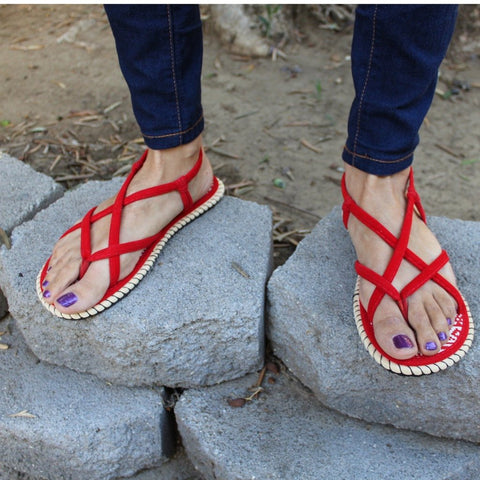 Red Handmade Rope Woman's Sandals - Sizes 6-10 US W - Tuk Tuk Sandals
