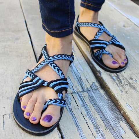 Blue Handmade Knitted Rope Woman's Sandals