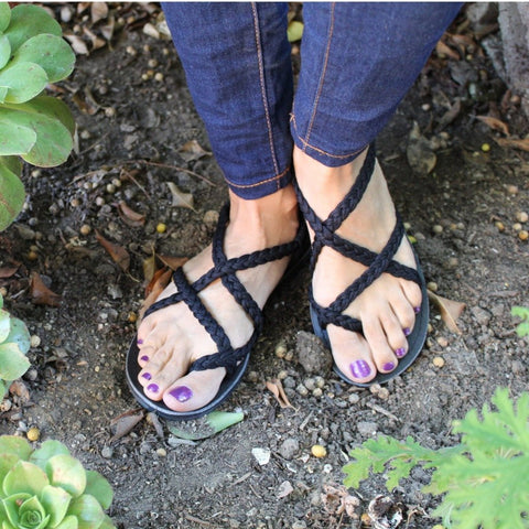 Black Handmade Knitted Rope Woman's Sandals