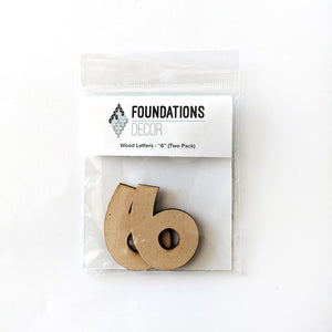 Wood Numbers - ''6'' (Two Pack)