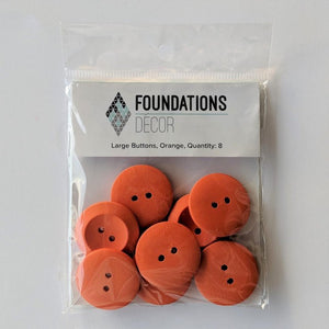 Buttons - Orange, 8 Large