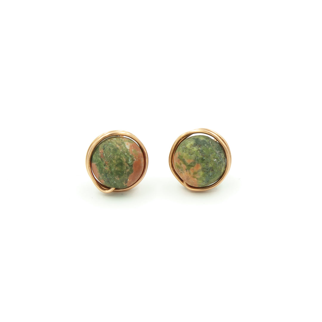 Copper Wrapped Unakite Posts