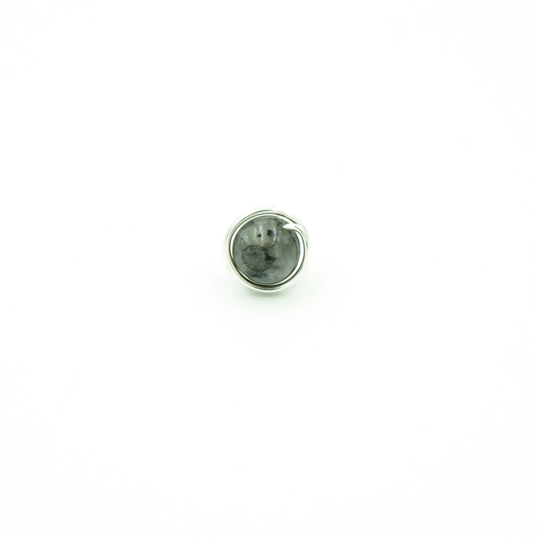 Sterling Silver Black Moonstone Single Stud Post