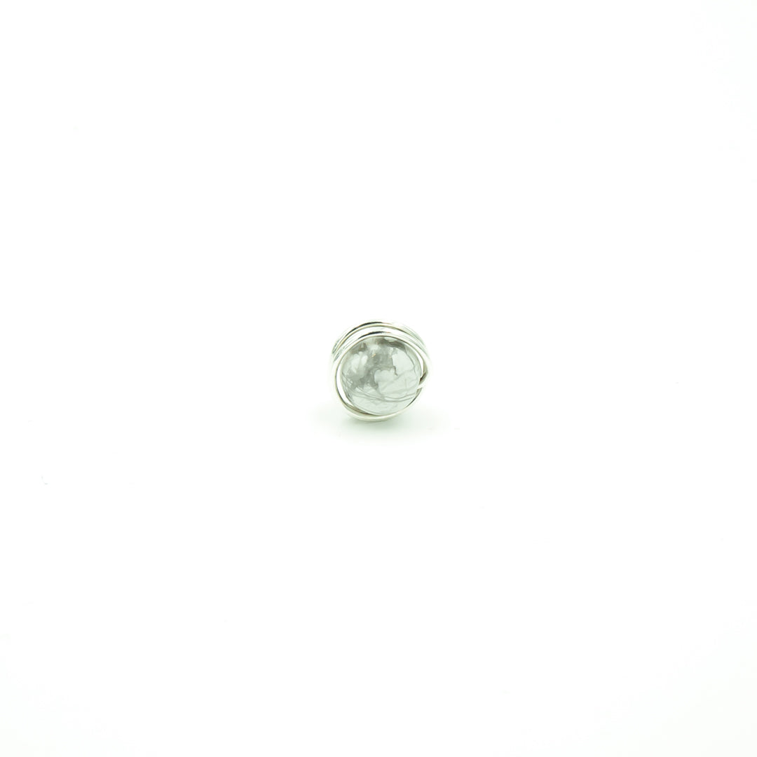 Sterling Silver Marbled Howlite Single Stud Post