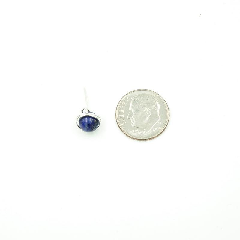 Sterling Silver Lapis Lazuli Single Stud Post