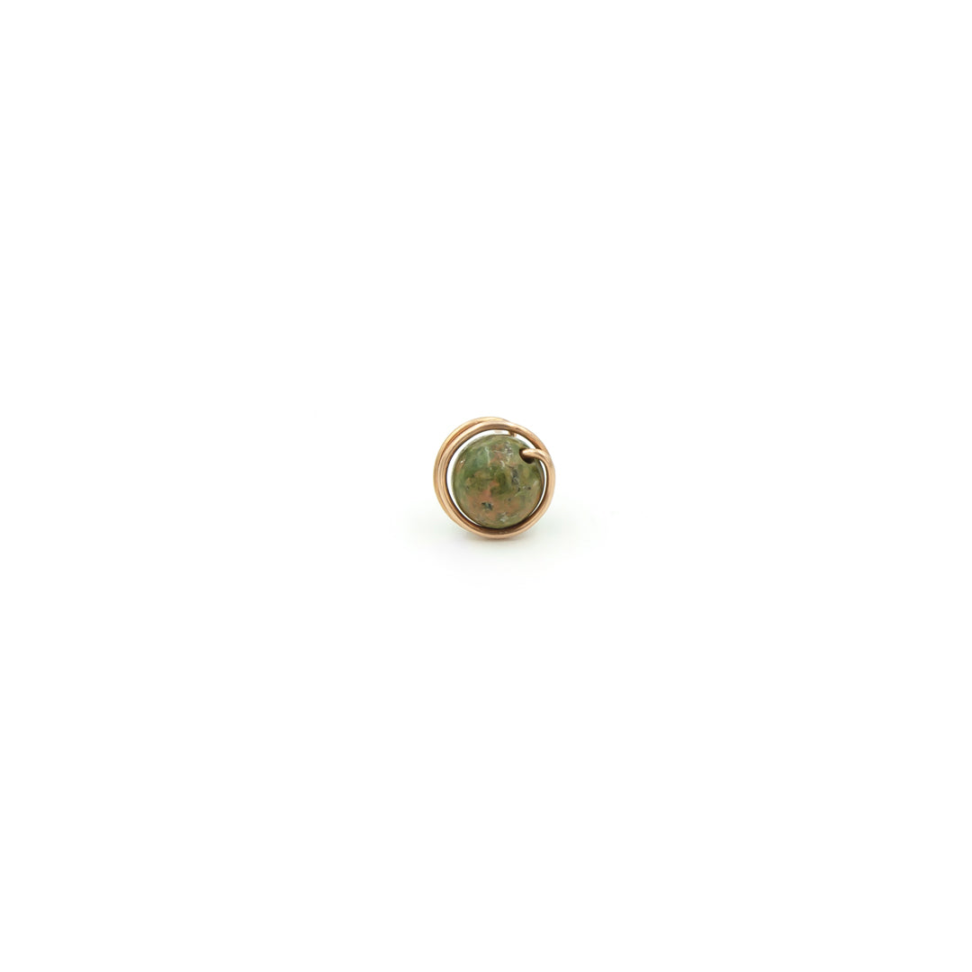 Copper Wrapped Unakite Single Stud Earring