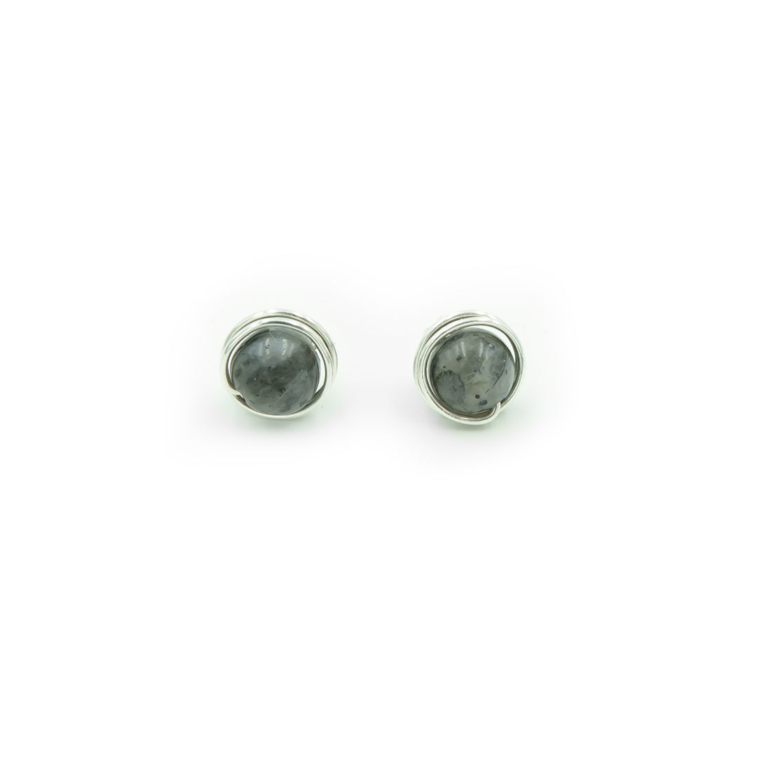 Sterling Silver Black Moonstone Posts