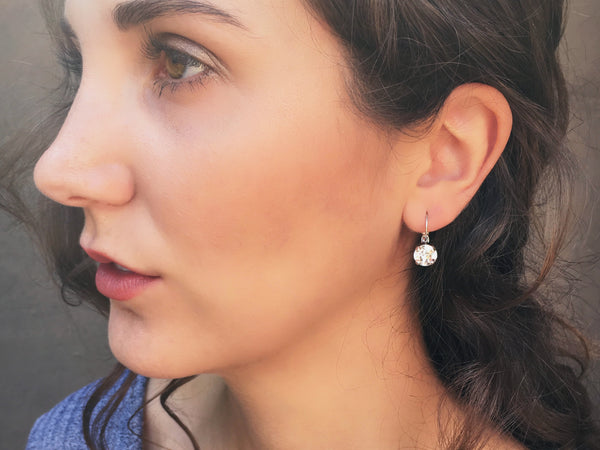Crystal Clear Earrings, Silver