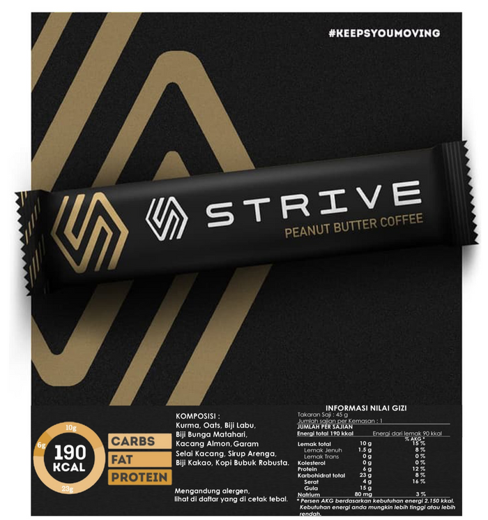 Strive Energy Bar - Peanut Butter Coffee (6pcs/box)