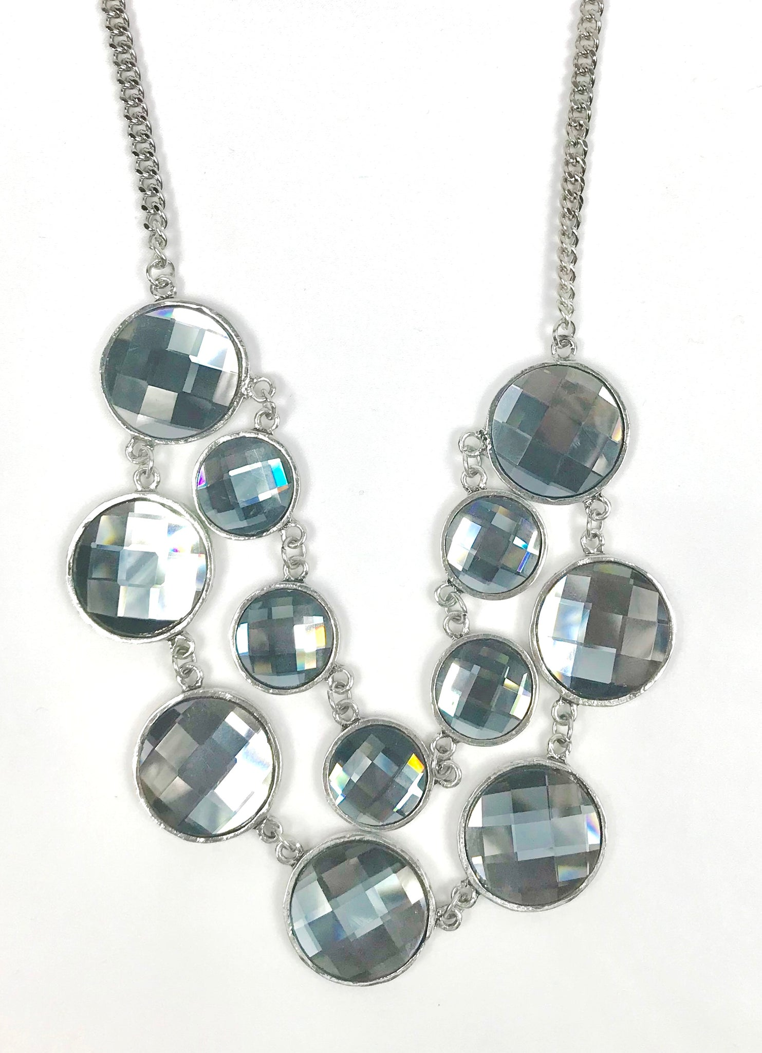 Silver and Blue Gem Necklace