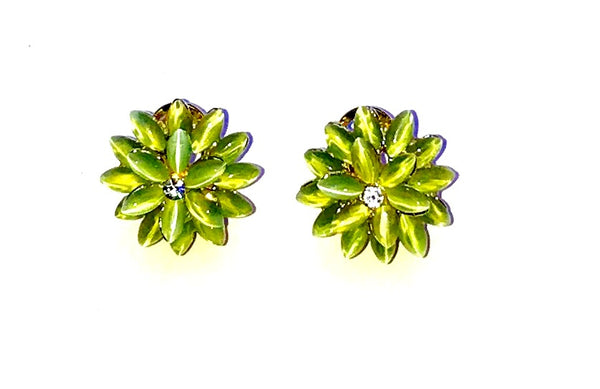 Green flower earrings  Ole