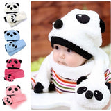 New Fashion Toddler Infant Baby Hat Cap Beanie + Scarf Panda Cartoon Two Piece Set