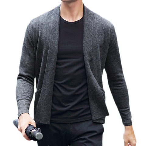 yanyuanlong Mens 100% Woolen Jacquard Cardigans Solid Color Turndown Collar Casual Outwea
