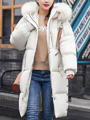 Beige Patchwork Fur Pockets Buttons Zipper Hooded Long Sleeve Casual Coat