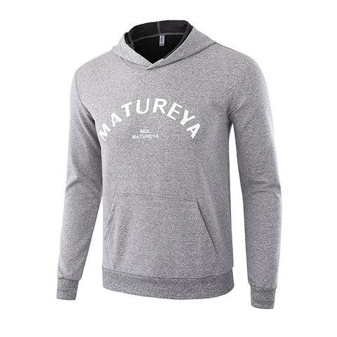 Mens Casual Sport Hoodies Spring Fall Letter Printed Front Big Pocket Long Sleeve Hooded Tops