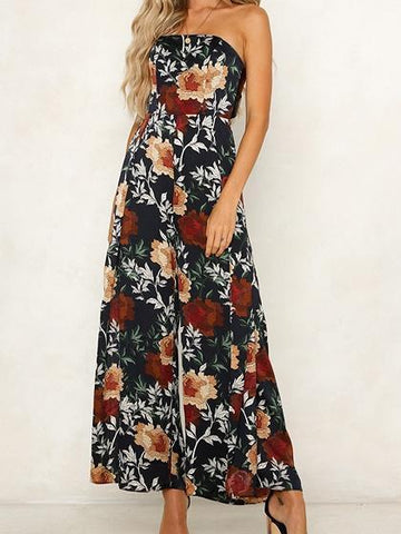 Black Bandeau Floral Print Tie Back Women Jumpsuit