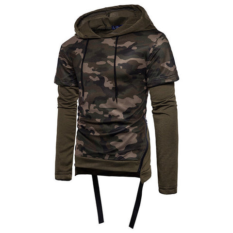 Mens Fashion Camouflage Hoodies Patchwork Design Hip Hop Sportwear
