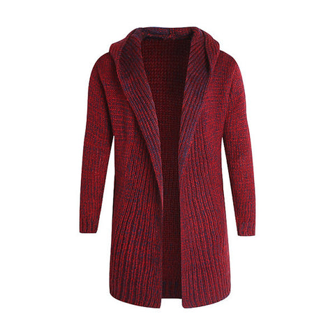 Mens Knitted Sweater Cardigans Soild Color Mid-long Hooded Casual Outwear