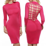 Women Sexy Slim Fit Back Cross Cut Hollow Out Bodycon Party Evening Dress