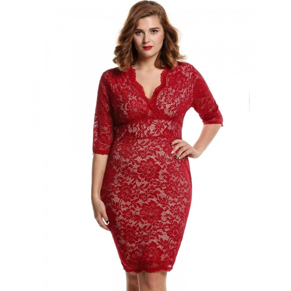 Women Ladies Medium Sleeve V-Neck Pencil Dress High Waist Floral Calf Length Party Lace Dress Plus