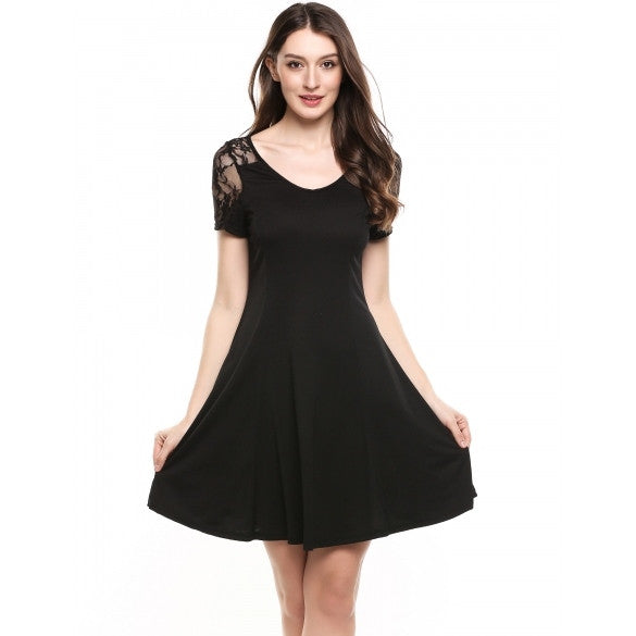New Women Casual V-Neck Short Sleeve Back Hollow Out Lace Patchwork A-Line Pleated Hem Elastic Dress