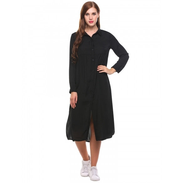 Women Long Sleeve Casual Loose Solid Side Split Shirt Dress