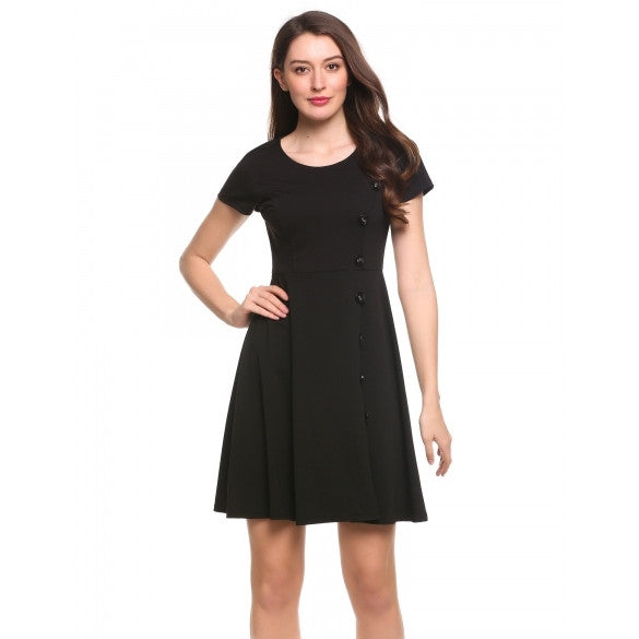 Women Short Sleeve Side Button Solid Cocktail Party Skater Dress