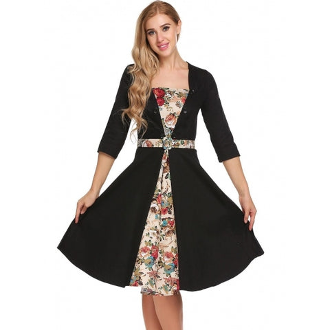 3/4 Sleeve Button Floral Patchwork Fit And Flare Dress With Belt