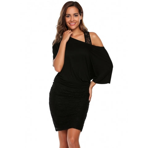 3/4 Batwing Sleeve One Shoulder Lace Patchwork Pencil Dress
