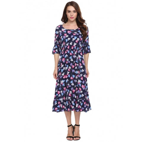 3/4 Flare Sleeve Floral Casual Dress