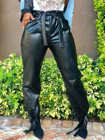 Black Belt Pockets Latex Vinly Patent Rubber High Waisted Casual Long Pant