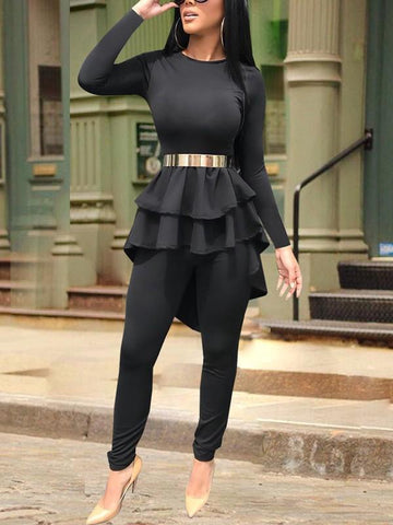Black Cascading Ruffle High-Low Long Sleeve Two Piece High Waisted Party Long Jumpsuit