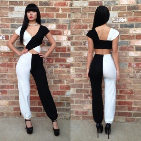 3PCS/LOT Black White Jumpsuit Women Across Sleeveless Club Sexy Bodysuit Bodycon Jumpsuits Clubwear S M L
