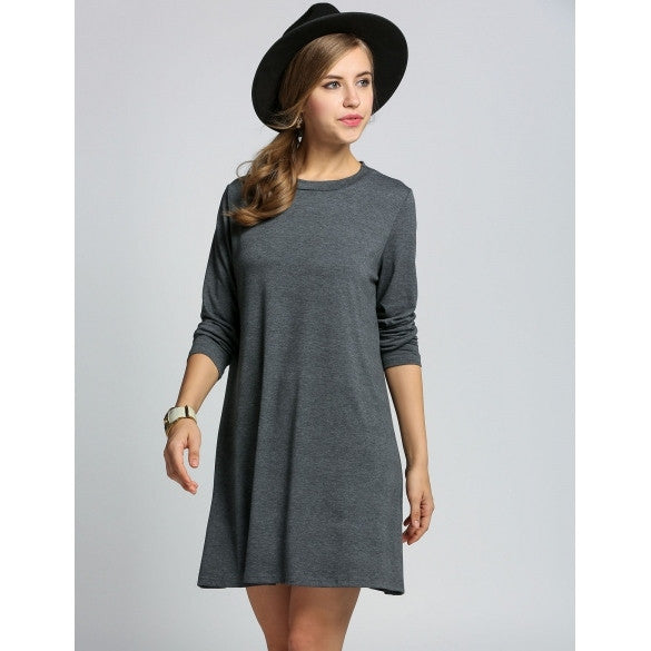 New Fashion Women Ladies Long Sleeve Backless Loose Mini Dress