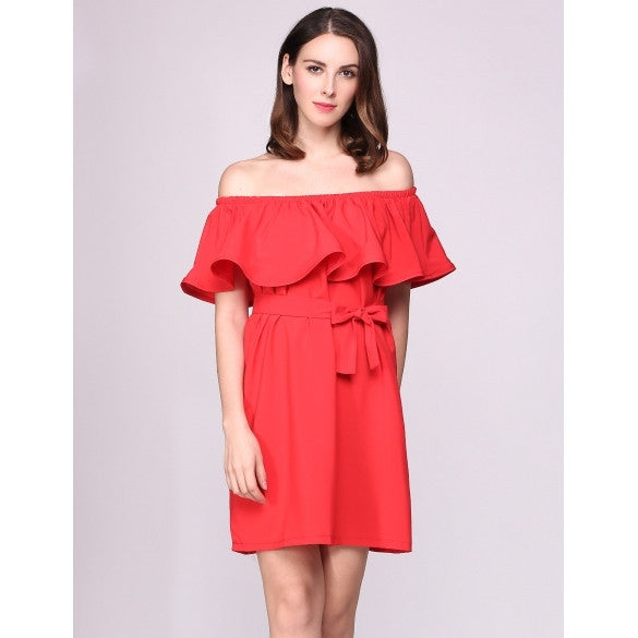 Off The Shoulder Ruffles Short Sleeve Solid Belted Going Out Dress