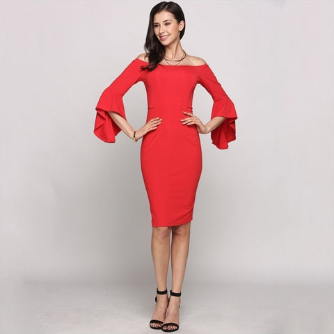 3/4 Asymmetrical Bell Sleeve Off The Shoulder Solid Bodycon Going Out Dress