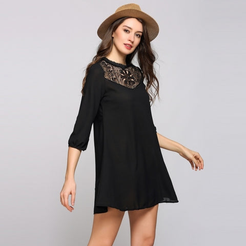 3/4 Puff Sleeve Round Collar Lace Patchwork Mini A-Line Casual Dress