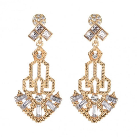 1920s Vintage Style Rhinestone Hollow Out Dangle Earrings