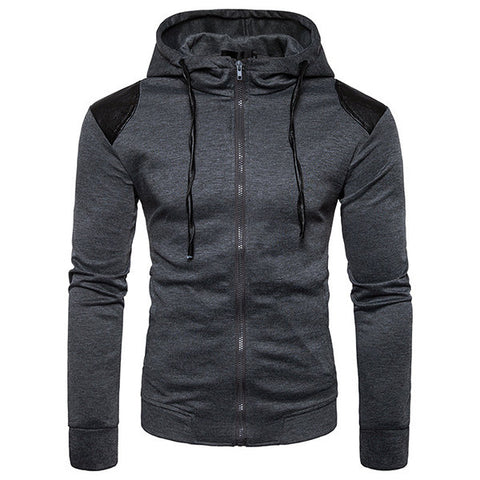 Mens Patchwork Zip Up Hoodies Casual Sport Hooded Tops