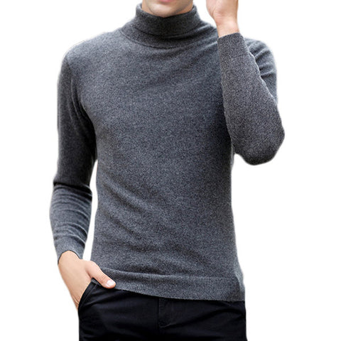 yanyuanlong 100% Wool High Collar Fashion Solid Thin Knit Sweater for Men