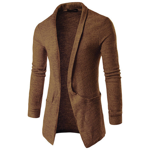 Mens Woolen Knitted Cardigans Solid Color Big Pocket Turndown Collar Casual Outwear