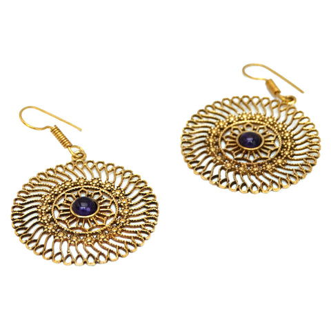 Mandala Earrings with Amethyst