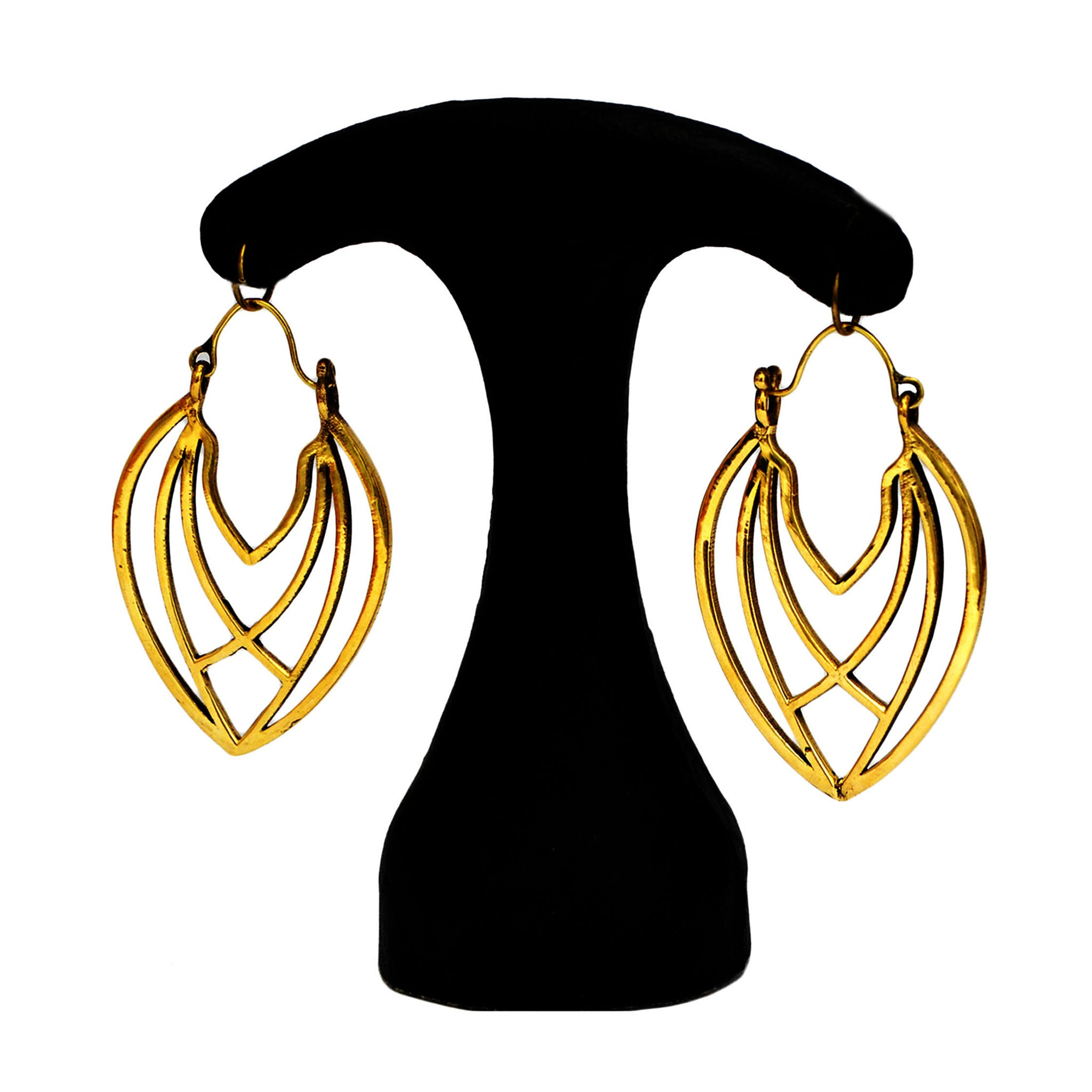 Geometric Brass Tribal Earrings