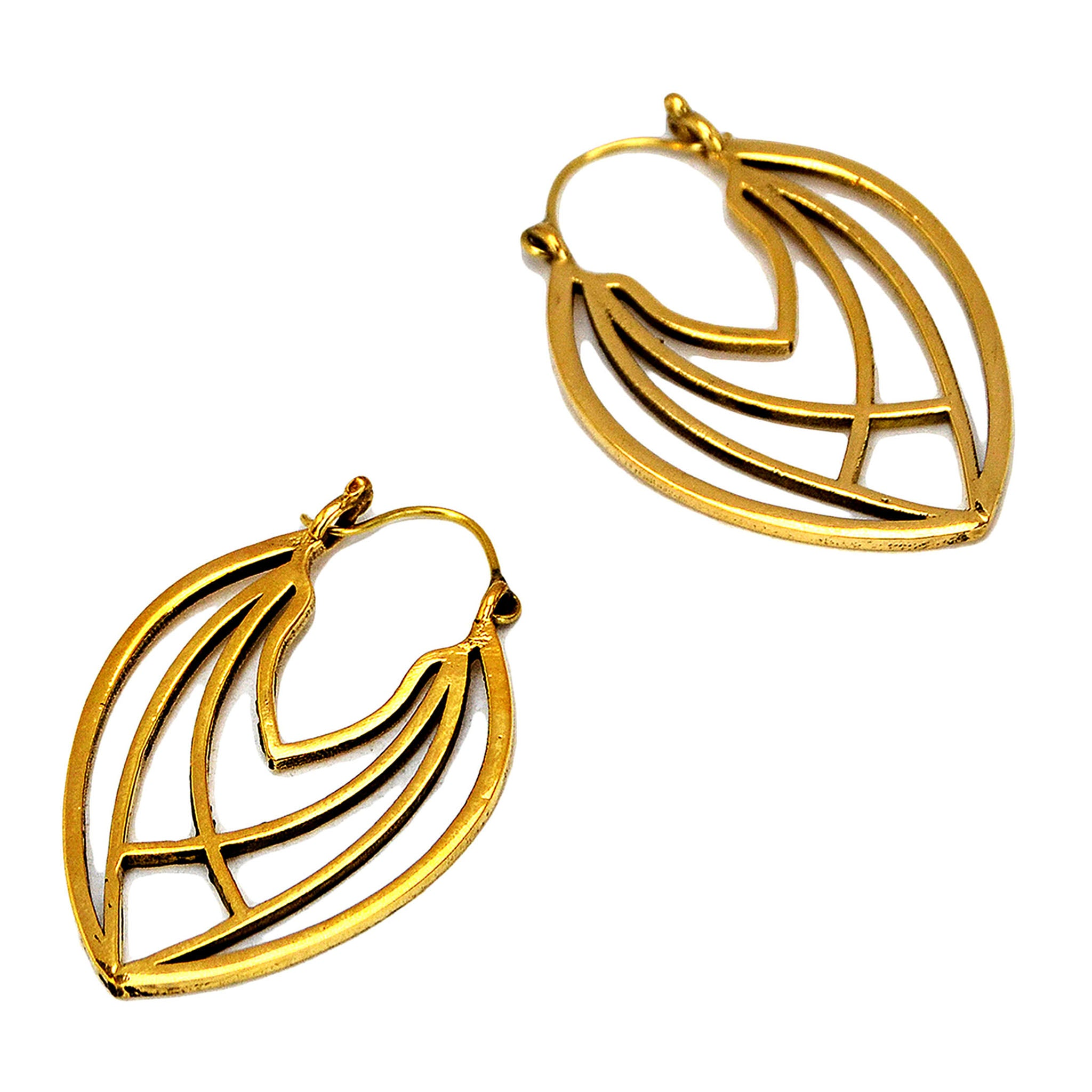 Indian geometric brass earrings