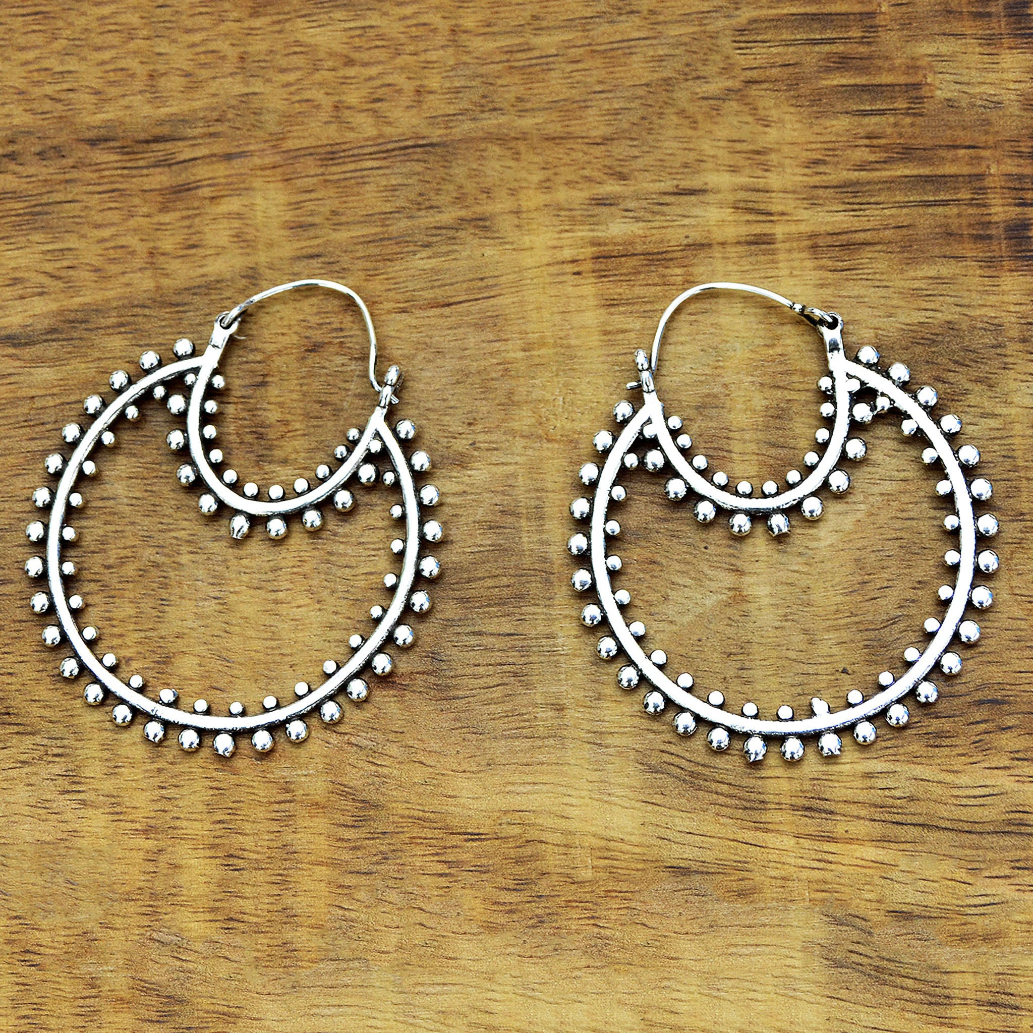 Large silver belly dance hoop earrings
